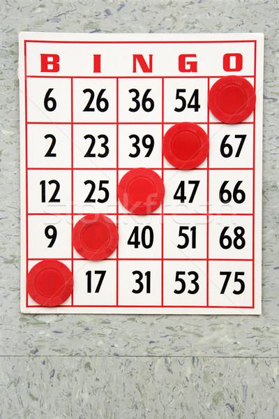 Winnend bingo kaart Rood chips kleur Stockfoto © iofoto