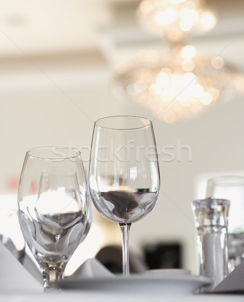Water and Wine Glasses on Table Stock photo © iofoto