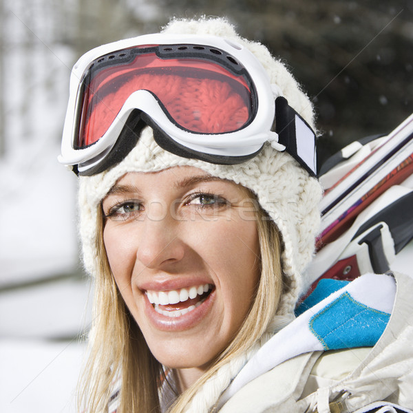 Woman going skiing. Stock photo © iofoto