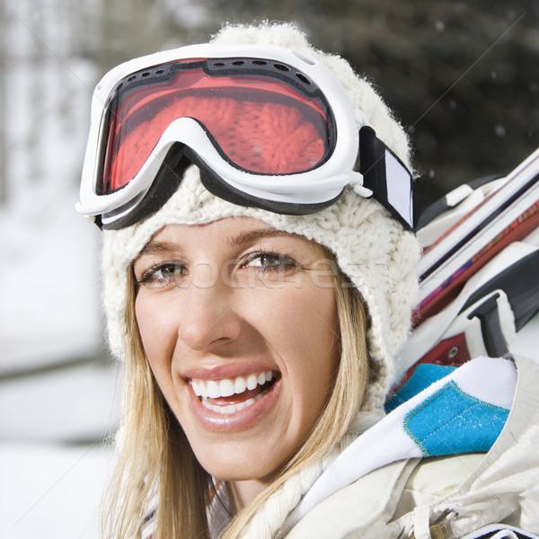 Mulher esqui atraente jovem loiro inverno Foto stock © iofoto