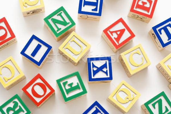 Oyuncak yapı blokları alfabe Bina grup mektup Stok fotoğraf © iofoto