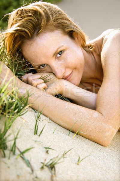 Stockfoto: Mooie · vrouw · buitenshuis · portret · aantrekkelijk · vrouw