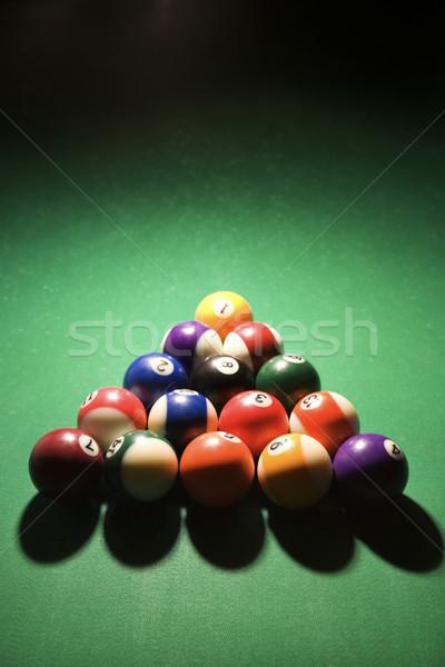 Piscina mesa de bilhar vertical tiro bola Foto stock © iofoto