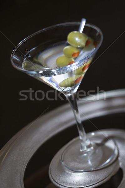 Martini azeitonas beber cor cocktails ninguém Foto stock © iofoto