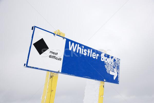 Snow ski black diamond trail sign. Stock photo © iofoto