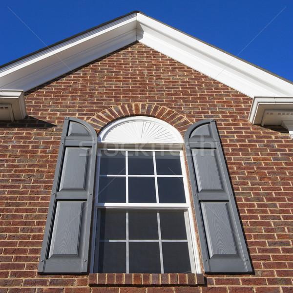 Ház külső külső tégla ház otthon ablak Stock fotó © iofoto
