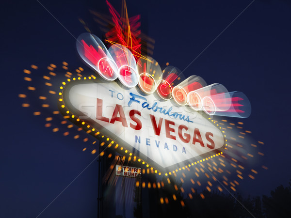 Floue Las Vegas Bienvenue signe fabuleux Nevada Photo stock © iofoto