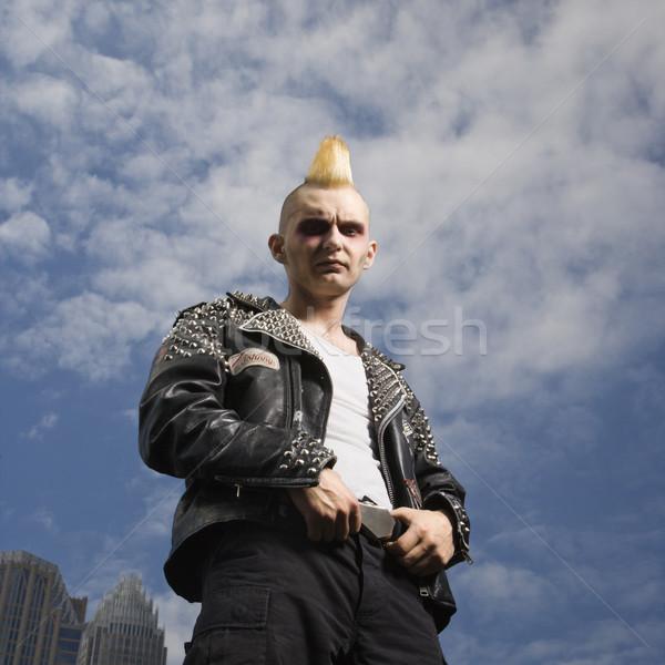 Portret punk na zewnątrz mężczyzna panoramę Zdjęcia stock © iofoto