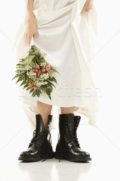 Menyasszony visel harc csizma kaukázusi tart Stock fotó © iofoto