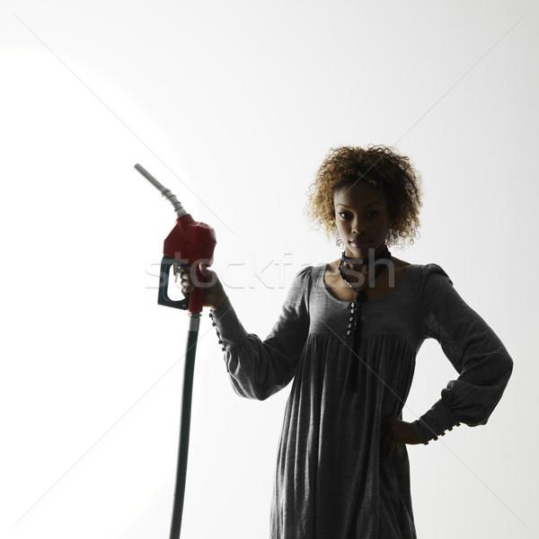 Kadın benzin pompa ağızlık beyaz Stok fotoğraf © iofoto