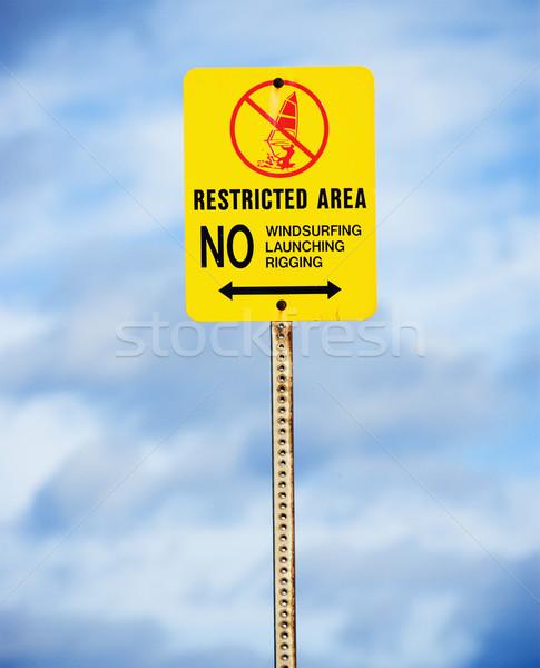 Restricted sign regarding water sports. Stock photo © iofoto