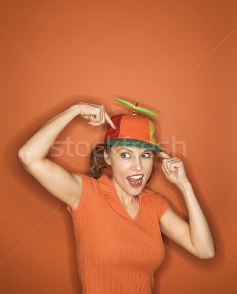 Woman wearing silly hat. Stock photo © iofoto