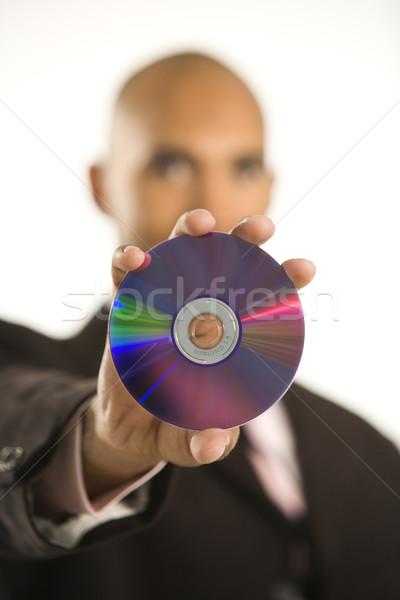 Adam kompakt disk dışarı teknoloji Stok fotoğraf © iofoto