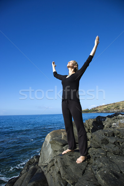 женщину побережье кавказский Постоянный Гавайи оружия Сток-фото © iofoto