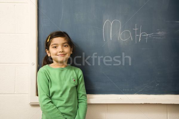 Stock fotó: Diák · fiatal · női · áll · iskolatábla · matematika