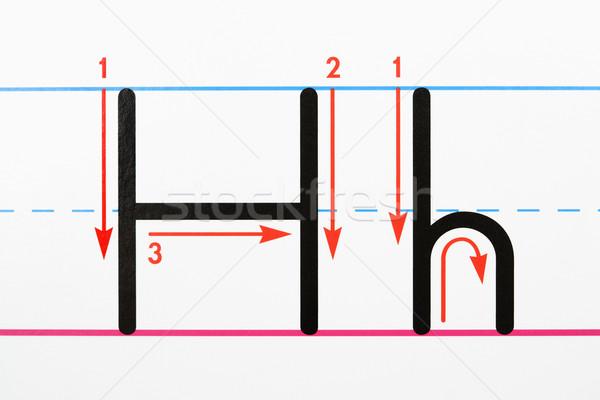 Foto stock: Letra · prática · letra · h · página · papel