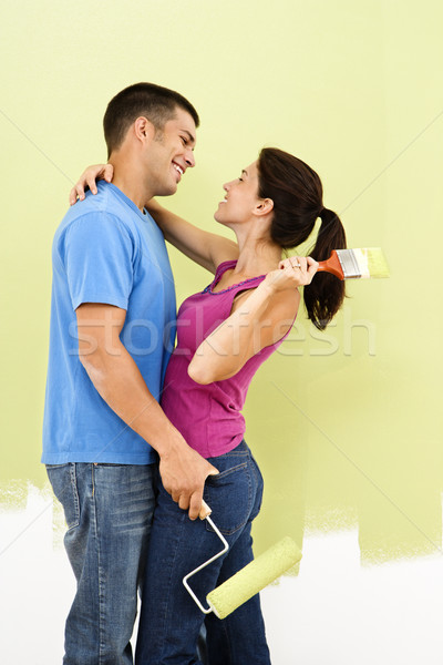 Stock photo: Loving couple painting.