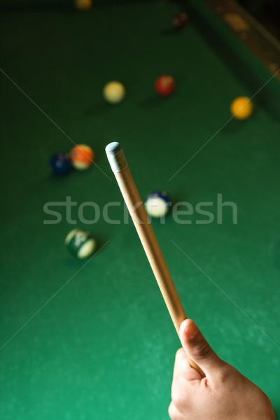 Hand Holding Pool Cue Stock photo © iofoto