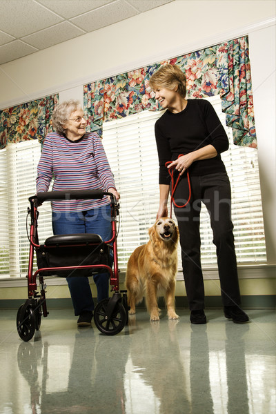 Stockfoto: Vrouw · wonen · ouderen · kaukasisch · lopen