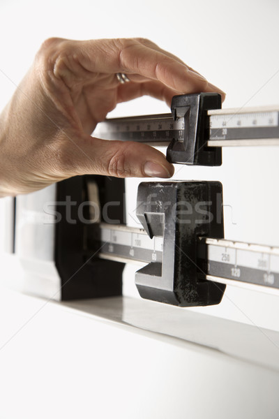Hand on weight scale. Stock photo © iofoto