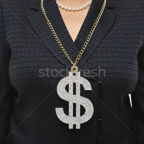 Nő visel dollárjel közelkép középkorú üzletasszony Stock fotó © iofoto