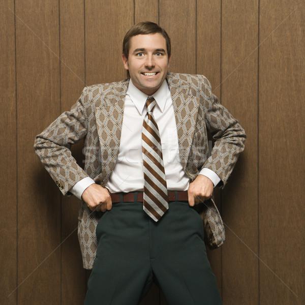 Człowiek retro garnitur uśmiechnięty mężczyzna Zdjęcia stock © iofoto