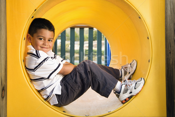 Young Boy Lying in Crawl Tube Stock photo © iofoto