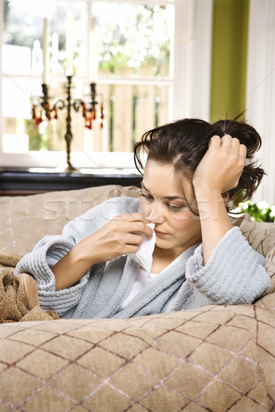 Sick Woman in Bathrobe  Stock photo © iofoto