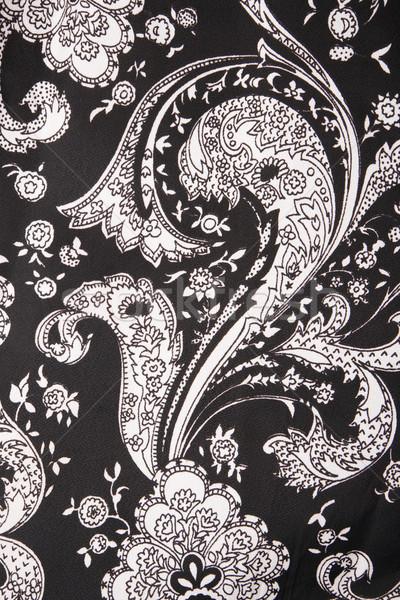 Stok fotoğraf: Bağbozumu · kumaş · detay · siyah · beyaz · çiçekler