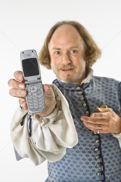 Shakespeare holding cell phone. Stock photo © iofoto