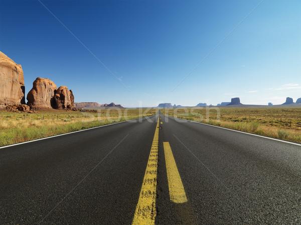 Festői sivatag autópálya nyitva tájkép távoli Stock fotó © iofoto