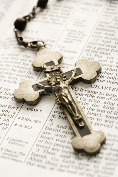 Crucifix on Bible. Stock photo © iofoto