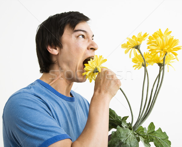 Man eating bouquet. Stock photo © iofoto
