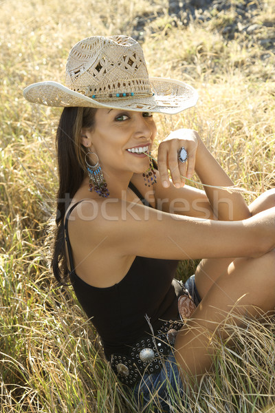 Pretty woman in field. Stock photo © iofoto