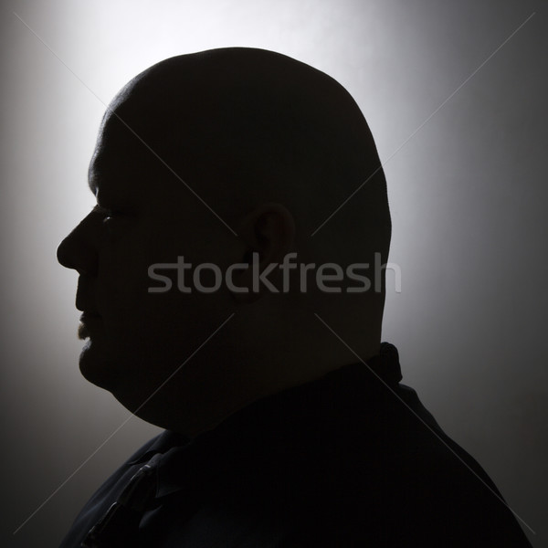 Photo stock: Silhouette · chauve · homme · adulte · portrait
