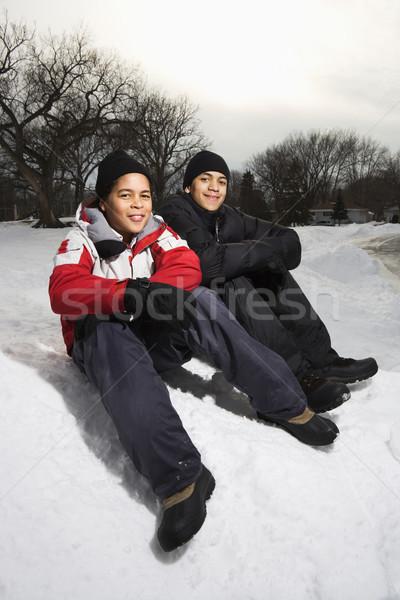Fiúk mosolyog hó kettő ül visel Stock fotó © iofoto