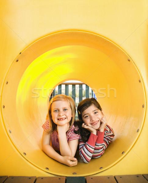 小さな 女の子 一緒に クロール 管 遊び場 ストックフォト © iofoto