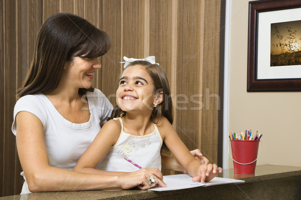 Mother helping daughter. Stock photo © iofoto