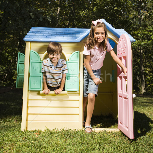 Kids in playhouse. Stock photo © iofoto