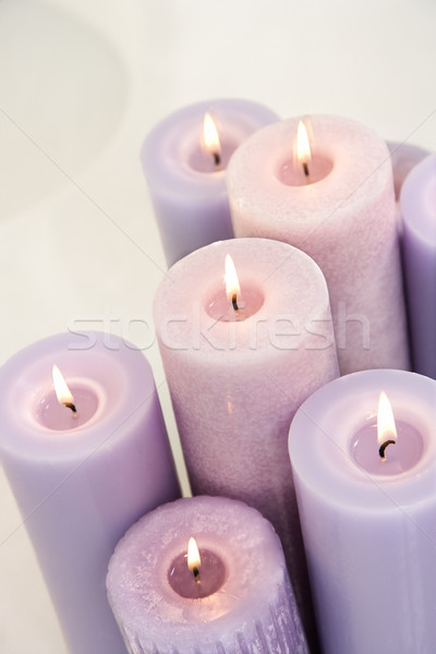 Lit lavendar candles. Stock photo © iofoto