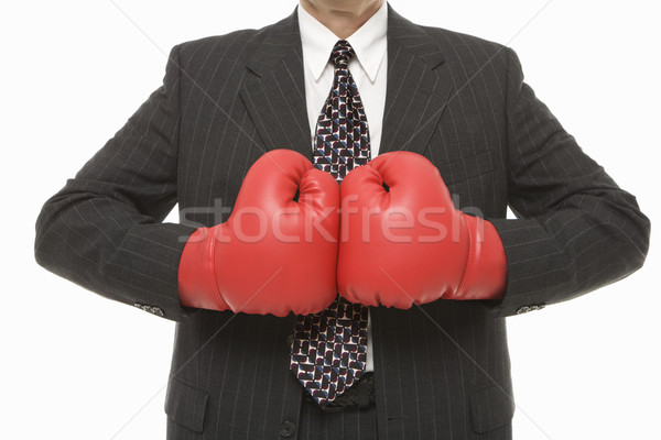Businessman boxing gloves. Stock photo © iofoto