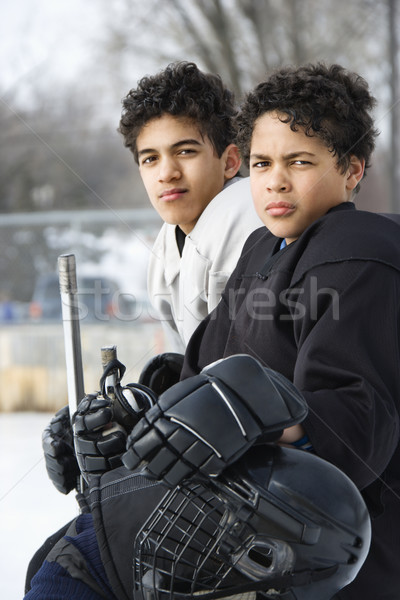 Boys in hockey uniforms. Stock photo © iofoto