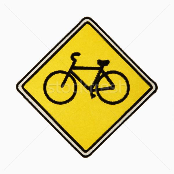 Stockfoto: Fiets · verkeersbord · witte · weg · teken · kleur