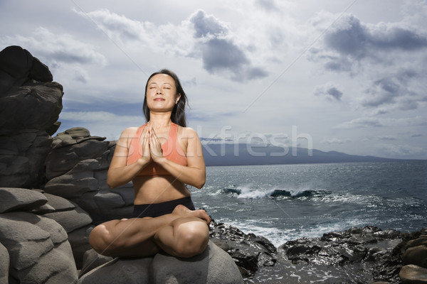 Photo stock: Femme · Lotus · posent · asian · séance · Rock