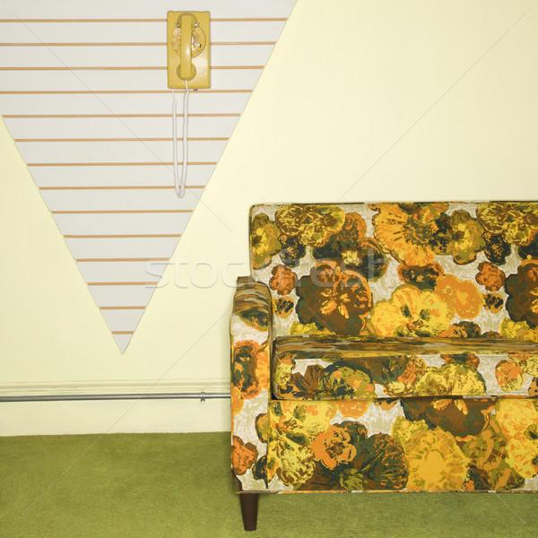 Retro oturma oda basılı kanepe Stok fotoğraf © iofoto