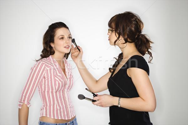 Sminkmester nő smink fiatal kaukázusi nők Stock fotó © iofoto