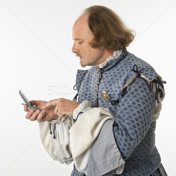 Shakespeare using cell phone. Stock photo © iofoto