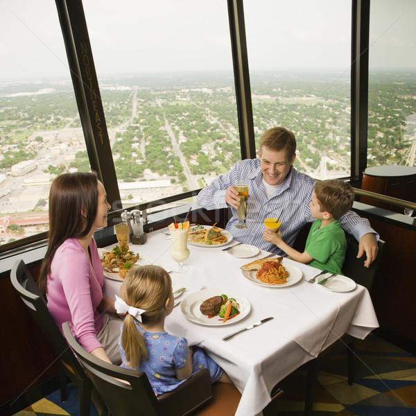 Család vacsora kaukázusi együtt torony étterem Stock fotó © iofoto