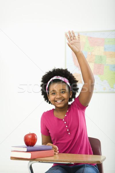 Sorridere studentessa african american ragazza seduta scuola Foto d'archivio © iofoto