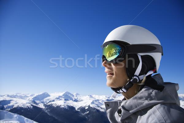 Fiú snowbordos hegyek kaukázusi tizenéves fiú visel Stock fotó © iofoto